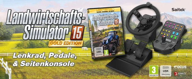 landwirtschafts simulator 15 gold edition mit lenkrad. Black Bedroom Furniture Sets. Home Design Ideas