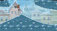 Wrrrrom! Es schneit! Trotzdem kann das Motorrad ja rausgeholt werden und dann geht es ab auf die Piste. Im bekannten Gameplay mit Loopings und Co.