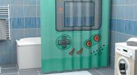 Wie cool ist das denn? Als Game Boy duschen. Eher gesagt, dahinter. Guck, guck, das Display ist transparent und lädt zum Spannen ein.